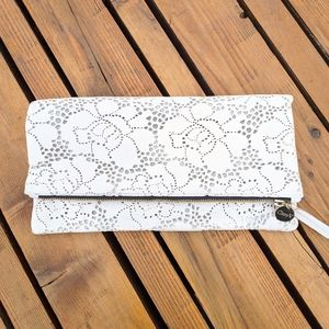 Clare V Floral Perforated Leather Fold Over Clutch